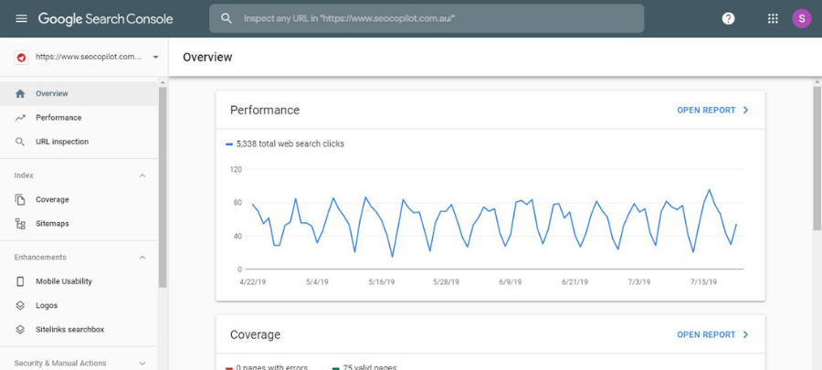 SEOCP Google Search Console Dashboard