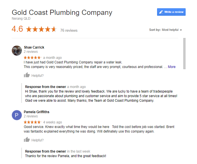 google reviews example 2