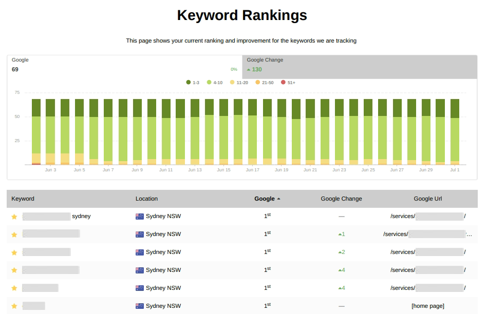 seo report keyword ranking