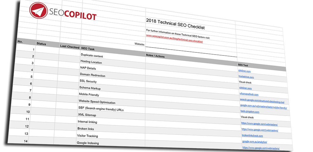 website technical seo checklist